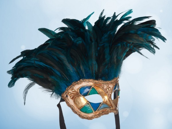 Blue feather party mask