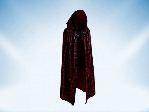 Red cape covered with black lace with hood