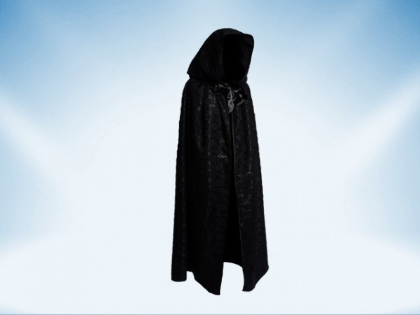 Black hooded satin cape covered with lace