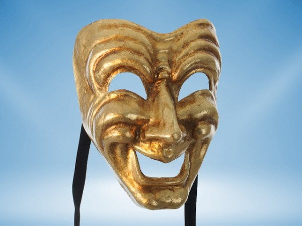 Comedy mask in gold