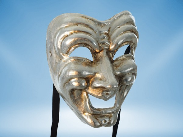 Comedy mask in silver