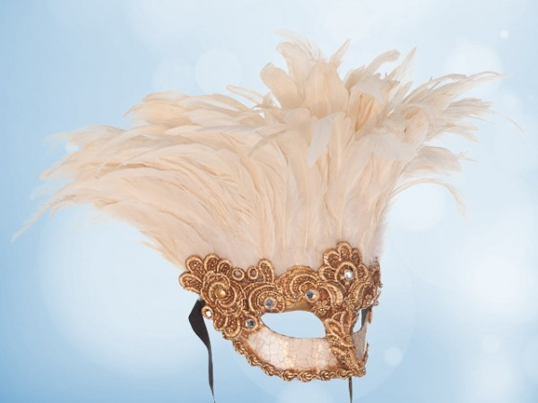 Feather mask in gold with white feathers