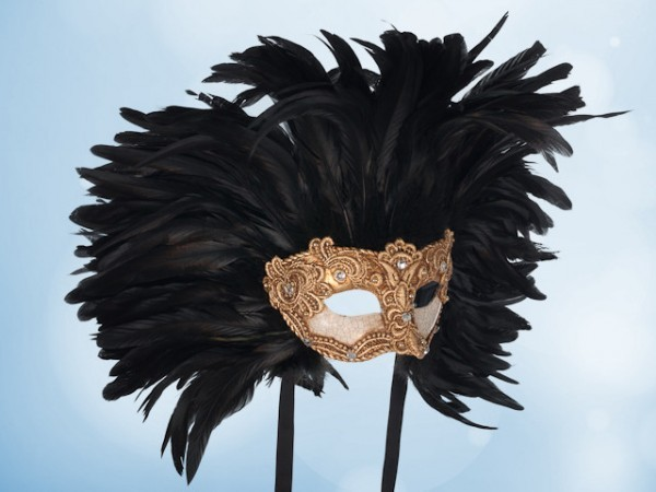 Golden Ball mask with black feathers for men
