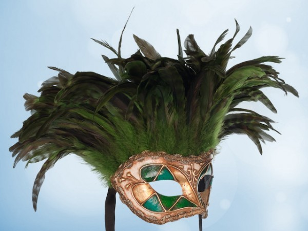 Green feather party mask