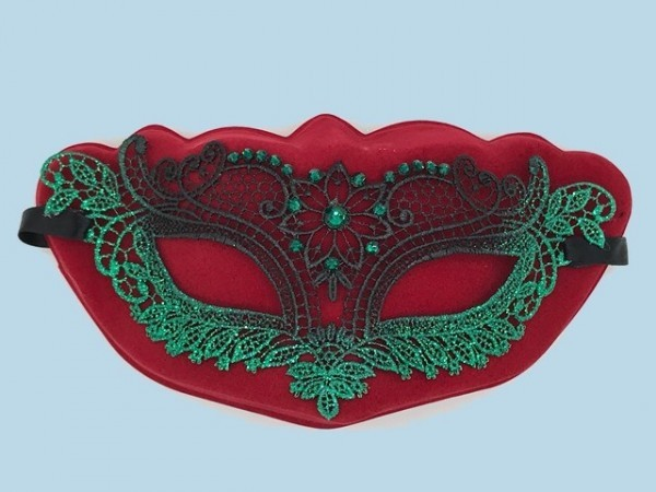 Green lace mask Merletto with strass