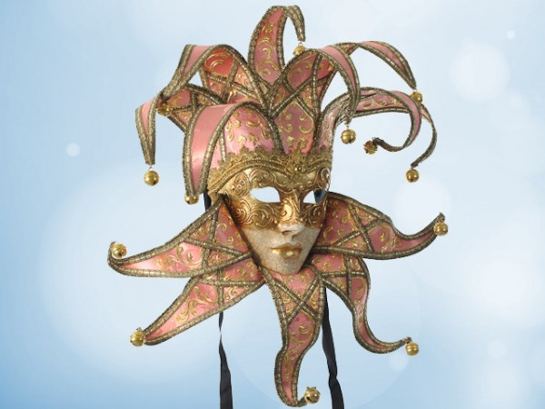 Jester mask in pink silk
