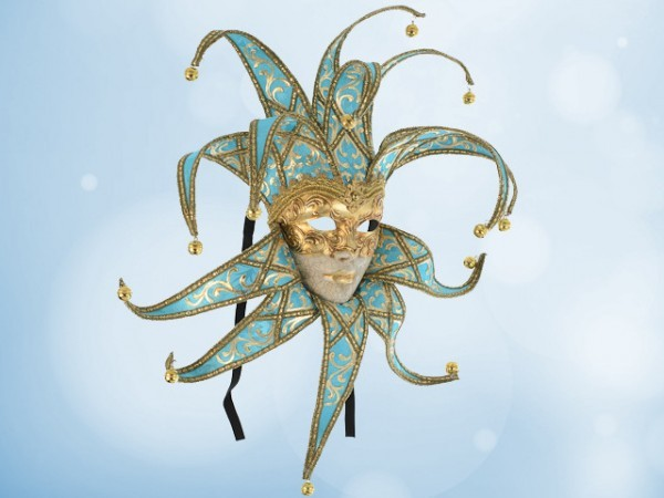 Jester mask in silk turquoise