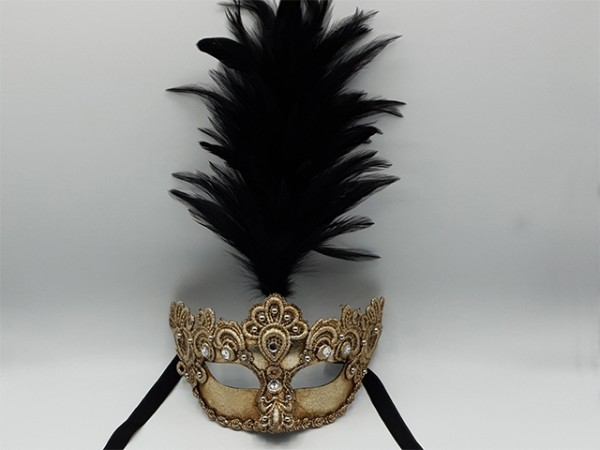 Silver Venetian mask with a feather plume