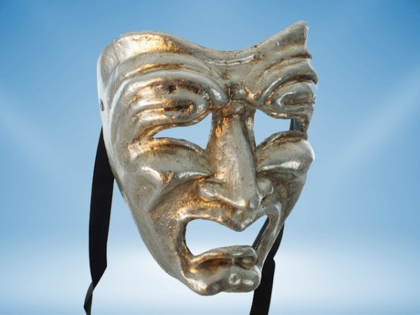 Tragedy mask in silver