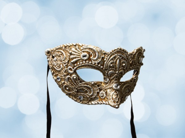 Venetian ball mask for a man in silver lace