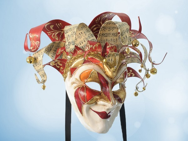 Venetian Joker mask in red