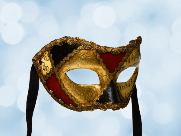 Venetian mask with music notes