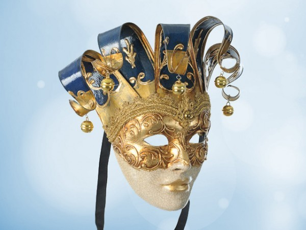 Venetian wall mask in blue