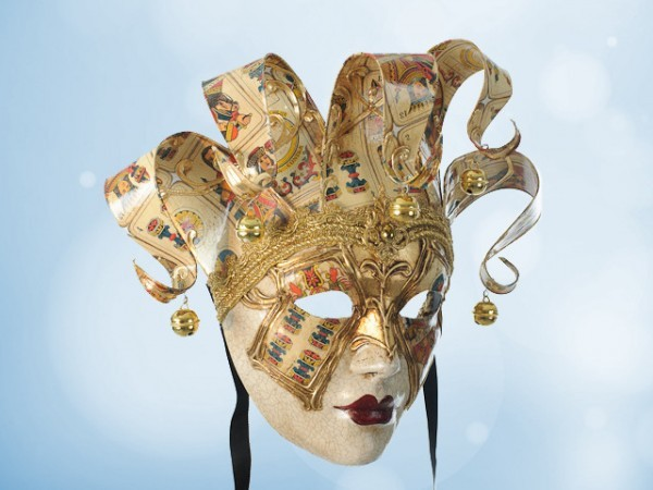 Venetian wall mask with playing cards