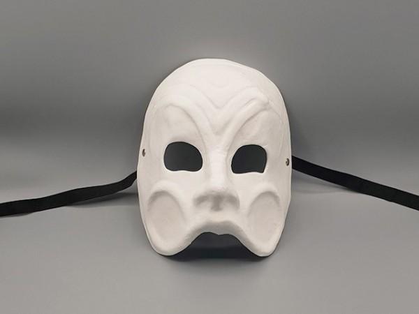 White papier-mâché Commedia dell'arte drama mask of Arlecchino