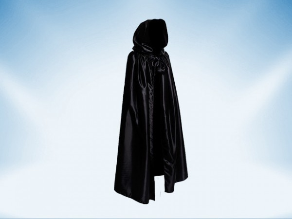 Venetian cape with a hood in black satin